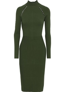 Lela Rose Woman Lattice-trimmed Ponte Dress Army Green