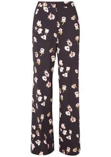 Lela Rose Woman Maggie Floral-print Crepe Wide-leg Pants Midnight Blue