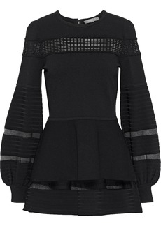 Lela Rose Woman Mesh-trimmed Stretch-knit Blouse Black