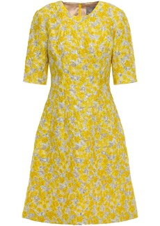 Lela Rose Woman Metallic Brocade Dress Yellow