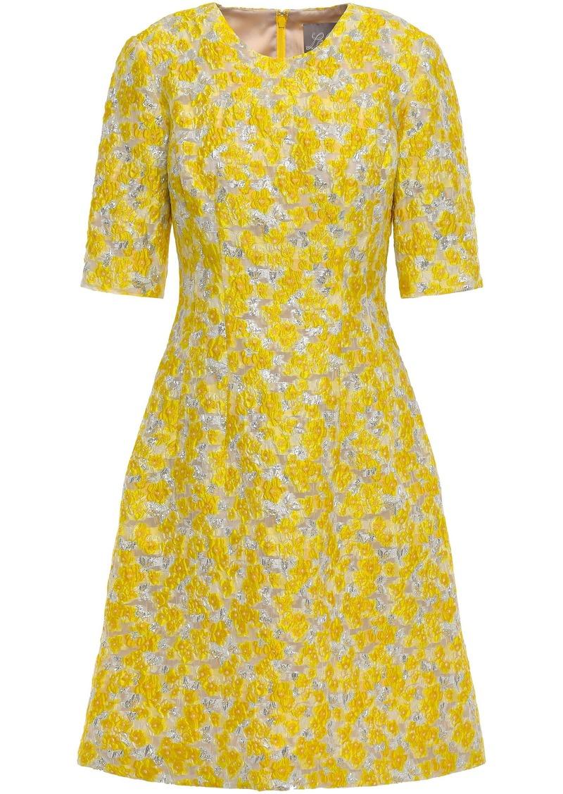 Lela Rose Woman Metallic Brocade Dress Yellow