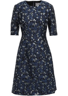 Lela Rose Woman Metallic Brocade Dress Navy