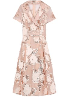 Lela Rose Woman Metallic Fil Coupé Organza-jacquard Midi Dress Pastel Pink