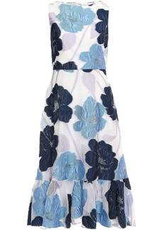 Lela Rose Woman Ruffle-trimmed Fil Coupé Organza Midi Dress Azure