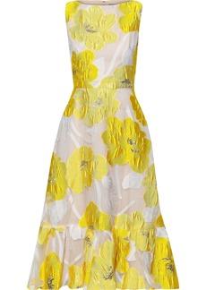 Lela Rose Woman Ruffle-trimmed Fil Coupé Organza Midi Dress Bright Yellow