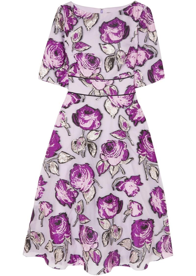 Lela Rose Woman Metallic Fil Coupé Organza Midi Dress Lavender