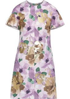 Lela Rose Woman Metallic Floral-print Cotton-blend Poplin Mini Dress Lavender