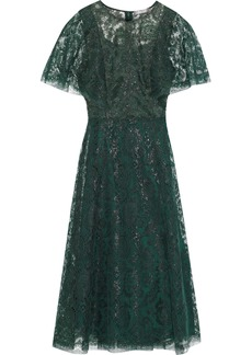 Lela Rose Woman Metallic Lace Midi Dress Forest Green