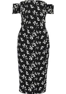 Lela Rose Woman Off-the-shoulder Bow-embellished Embroidered Crepe Dress Black