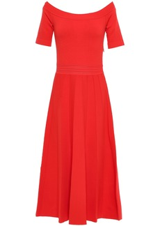 Lela Rose Woman Off-the-shoulder Pointelle-trimmed Stretch-knit Midi Dress Coral