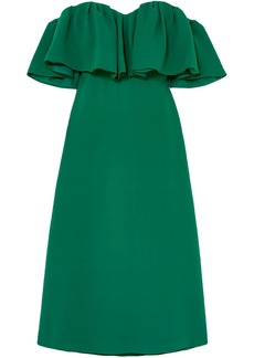 Lela Rose Woman Off-the-shoulder Ruffled Silk-cady Midi Dress Forest Green