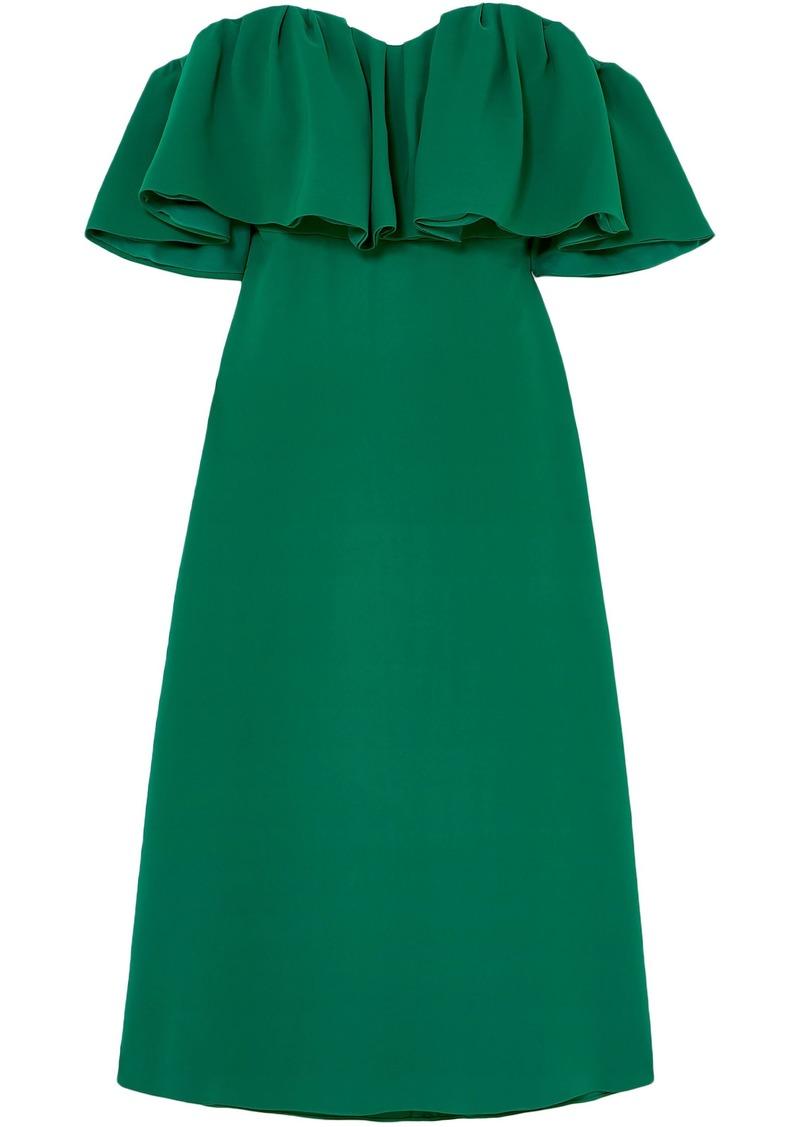 Lela Rose Woman Off-the-shoulder Ruffled Silk-cady Midi Dress Forest Green