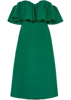 Lela Rose Woman Off-the-shoulder Ruffled Silk-crepe Midi Dress Forest Green