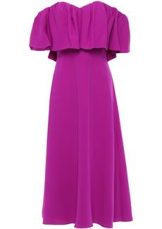 Lela Rose Woman Off-the-shoulder Ruffled Silk-cady Midi Dress Violet