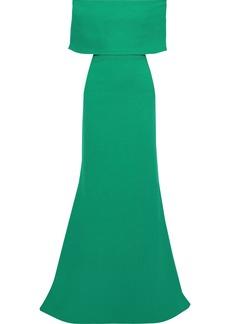 Lela Rose Woman Off-the-shoulder Wool-blend Crepe Gown Green