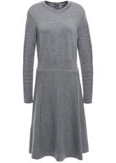 Lela Rose Woman Open Knit-trimmed Mélange Wool-blend Dress Gray