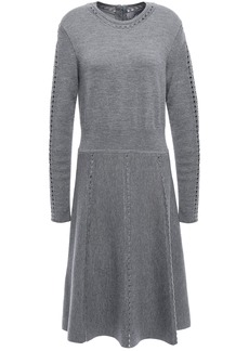 Lela Rose Woman Open Knit-trimmed Mélange Wool-blend Dress Gray