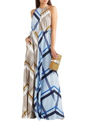Lela Rose Woman Paneled Frayed Checked Jacquard Gown Light Blue