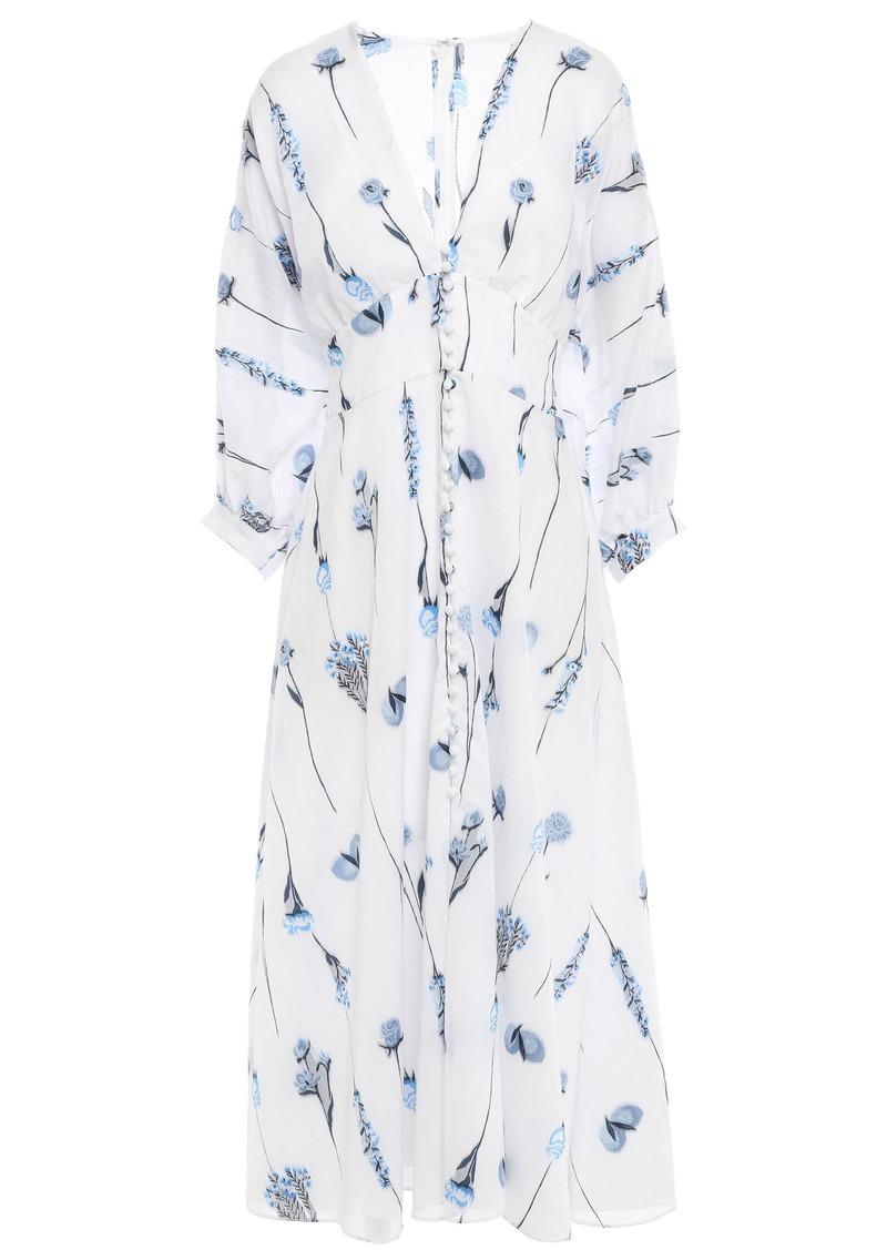 Lela Rose Woman Pinstriped Fil Coupé Cotton-blend Voile Midi Dress White