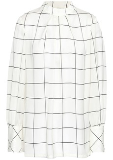 Lela Rose Woman Pleated Checked Crepe De Chine Blouse Ivory