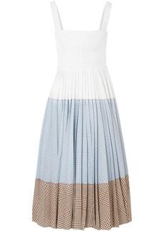 Lela Rose Woman Plaid Woven Halterneck Gown White