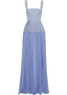 Lela Rose Woman Pleated Gingham Poplin And Silk-chiffon Gown Azure