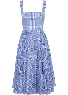 Lela Rose Woman Pleated Gingham Shell Dress Cobalt Blue