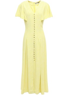 Lela Rose Woman Pleated Jacquard Midi Dress Pastel Yellow