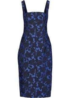 Lela Rose Woman Layered Pleated Brocade Dress Cobalt Blue