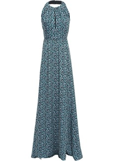 Lela Rose Woman Pleated Printed Twill Halterneck Gown Turquoise