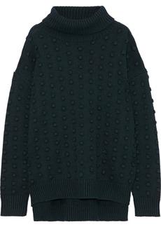 Lela Rose Woman Pompom-embellished Wool And Cashmere-blend Turtleneck Sweater Forest Green