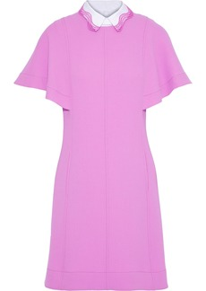 Lela Rose Woman Poplin-trimmed Stretch-wool Crepe Mini Dress Pink