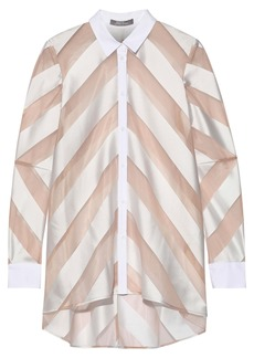 Lela Rose Woman Poplin-trimmed Striped Satin And Organza Shirt Neutral