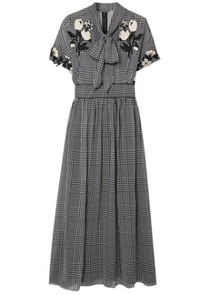 Lela Rose Woman Pussy-bow Embroidered Checked Silk-chiffon Midi Dress Black