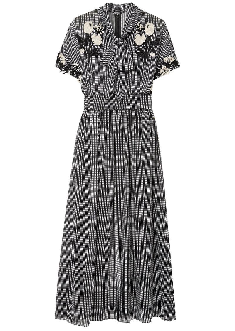 Lela Rose Woman Pussy-bow Embroidered Checked Silk-chiffon Midi Dress Black