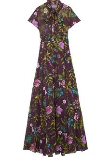 Lela Rose Woman Pussy-bow Floral-print Cotton-voile Gown Plum