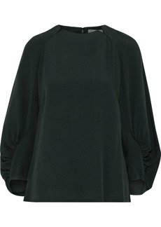 Lela Rose Woman Ruched Cloqué Blouse Dark Green