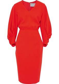 Lela Rose Woman Ruched Stretch-wool Crepe Dress Tomato Red
