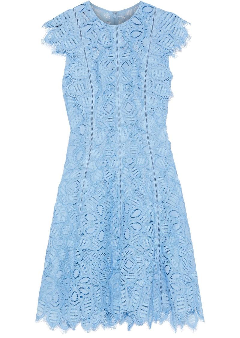 Lela Rose Woman Ruffle-trimmed Corded Lace Dress Light Blue