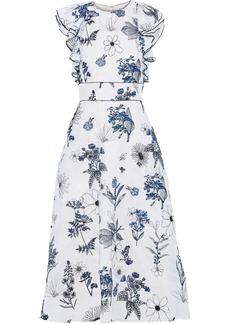 Lela Rose Woman Ruffle-trimmed Embroidered Silk-organza Midi Dress White