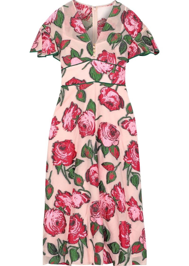 Lela Rose Woman Ruffle-trimmed Fil Coupé Organza Midi Dress Blush