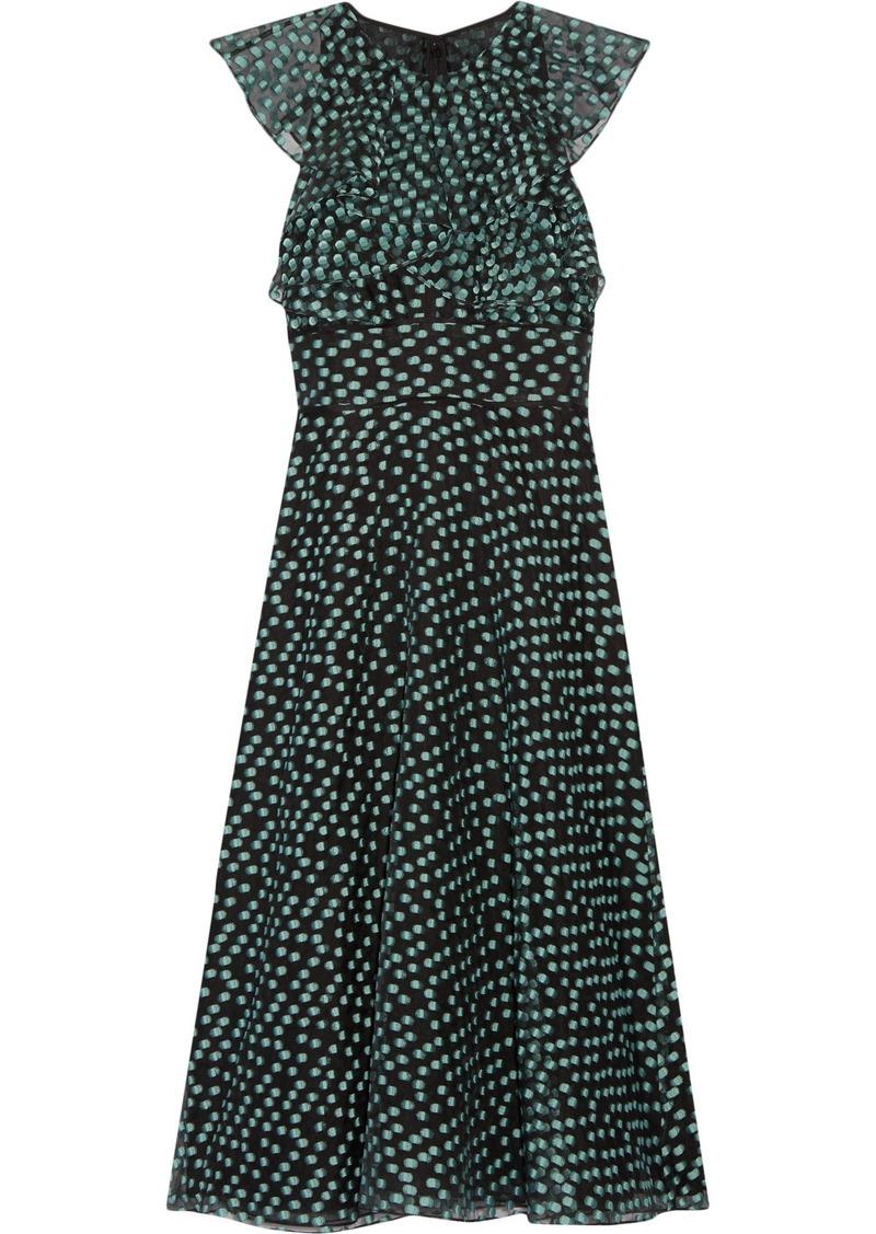 Lela Rose Woman Ruffled Fil Coupé Organza Midi Dress Black
