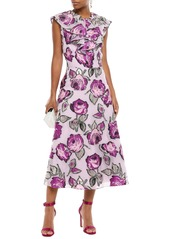 Lela Rose Woman Ruffled Metallic Fil Coupé Organza Midi Dress Lilac