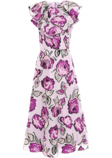 Lela Rose Woman Ruffled Metallic Fil Coupé Organza Midi Dress Lilac
