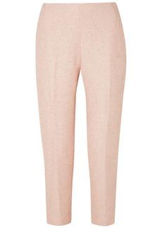 Lela Rose Woman Cropped Sequin-embellished Tweed Straight-leg Pants Pastel Pink