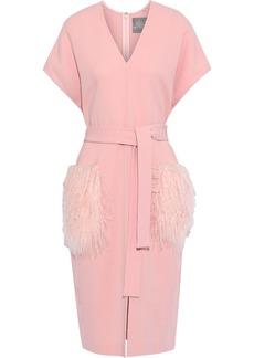 Lela Rose Woman Tie-front Shearling-paneled Wool-blend Crepe Dress Baby Pink