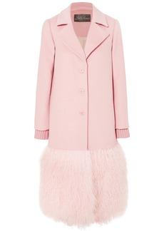Lela Rose Woman Shearling-paneled Wool-felt Coat Baby Pink