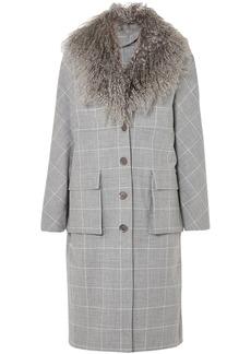 Lela Rose Woman Shearling-trimmed Checked Jacquard Coat Gray