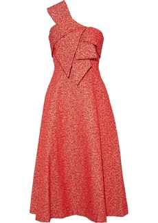 Lela Rose Woman Strapless Bow-embellished Metallic Jacquard Midi Dress Papaya