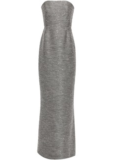 Lela Rose Woman Strapless Sequin-embellished Tweed Gown Gray